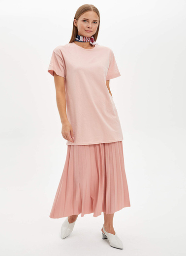 DeFacto Uzun T-shirt Pembe